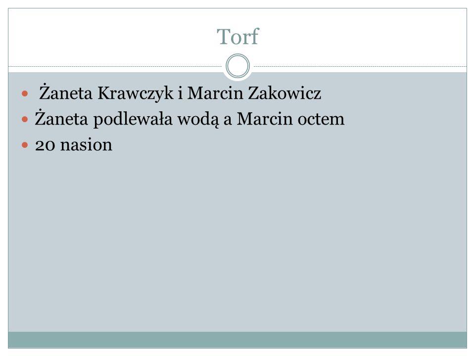 Torf Żaneta Krawczyk i Marcin Zakowicz Żaneta podlewała wodą a Marcin octem 20 nasion
