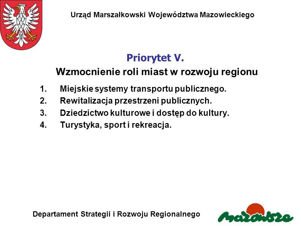 Urząd Marszałkowski Województwa Mazowieckiego Departament Strategii i Rozwoju Regionalnego Priorytet V. Wzmocnienie roli miast w rozwoju regionu 1.Mie