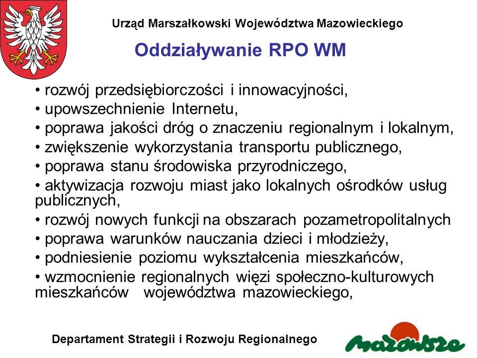 Urząd Marszałkowski Województwa Mazowieckiego Departament Strategii i Rozwoju Regionalnego Oddziaływanie RPO WM rozwój przedsiębiorczości i innowacyjn