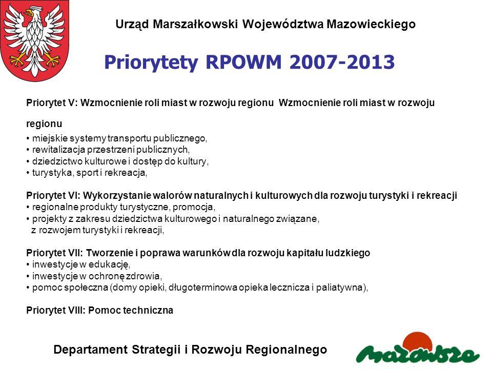 Urząd Marszałkowski Województwa Mazowieckiego Departament Strategii i Rozwoju Regionalnego Priorytety RPOWM 2007-2013 Priorytet V: Wzmocnienie roli mi