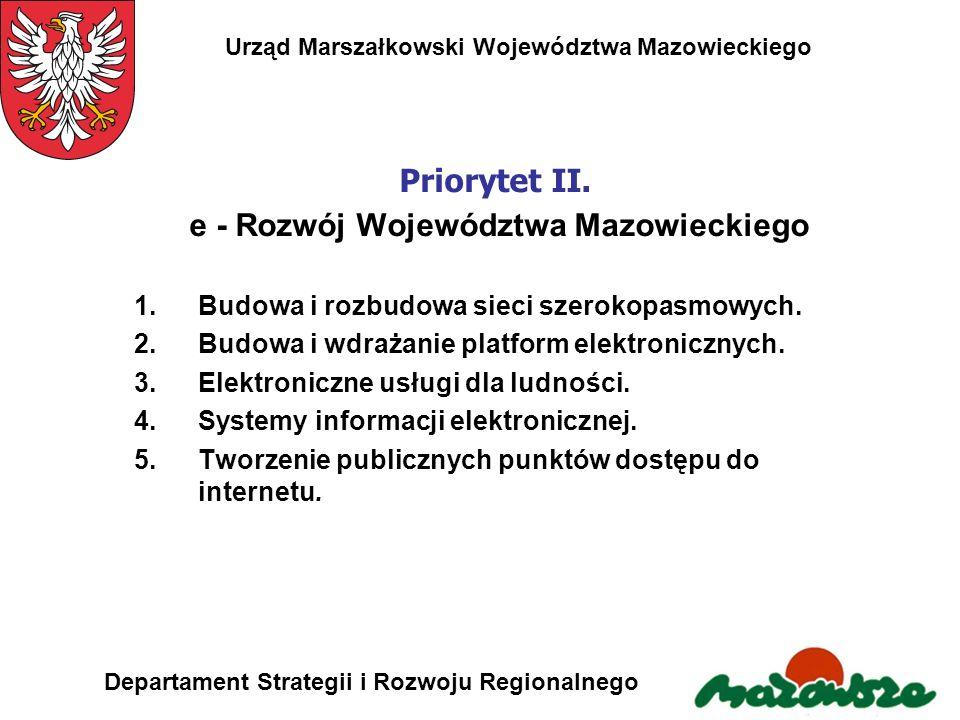 Urząd Marszałkowski Województwa Mazowieckiego Departament Strategii i Rozwoju Regionalnego Priorytet II. e - Rozwój Województwa Mazowieckiego 1.Budowa