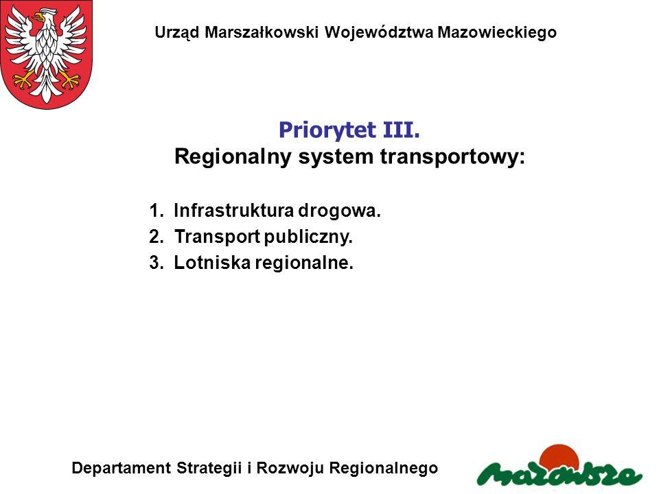 Urząd Marszałkowski Województwa Mazowieckiego Departament Strategii i Rozwoju Regionalnego Priorytet III. Regionalny system transportowy: 1.Infrastruk