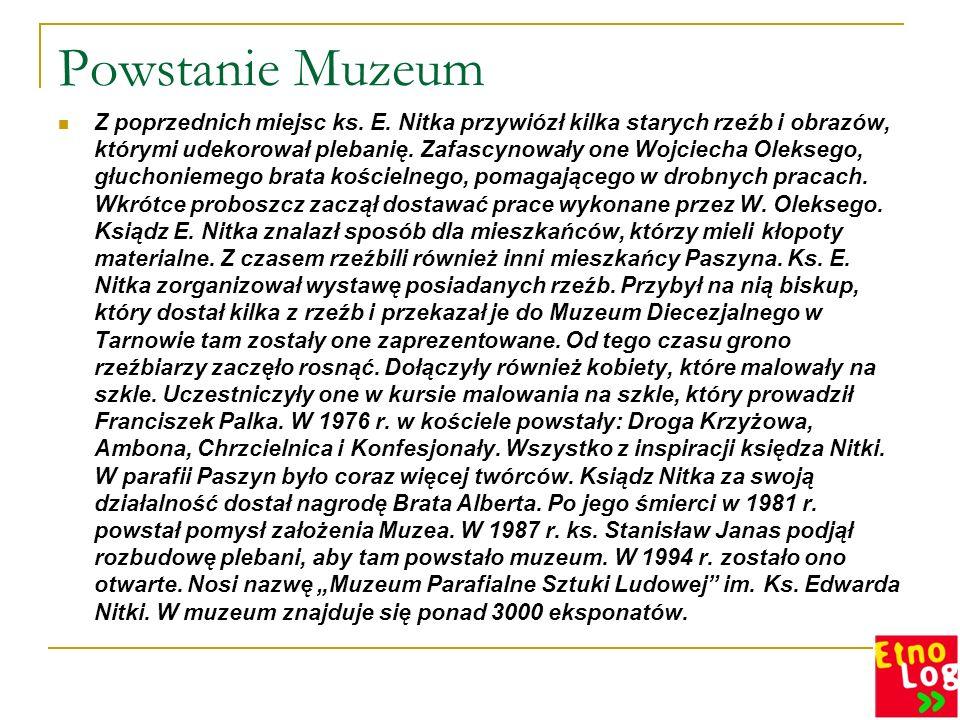 Powstanie Muzeum Z poprzednich miejsc ks. E. Nitka przywiózł kilka starych rzeźb i obrazów, którymi udekorował plebanię. Zafascynowały one Wojciecha O