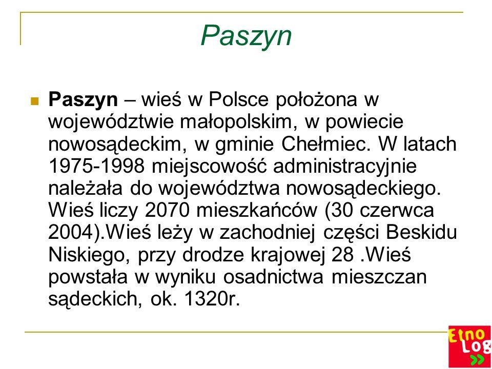 Paszyn Paszyn – wieś w Polsce położona w województwie małopolskim, w powiecie nowosądeckim, w gminie Chełmiec. W latach 1975-1998 miejscowość administ