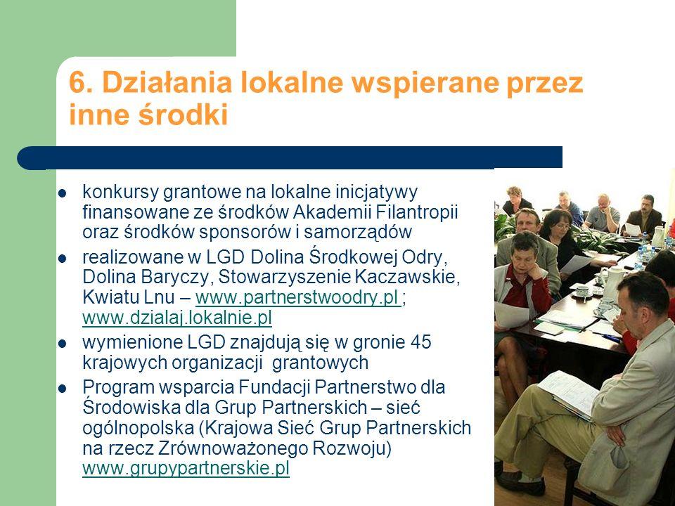 6. Działania lokalne wspierane przez inne środki konkursy grantowe na lokalne inicjatywy finansowane ze środków Akademii Filantropii oraz środków spon