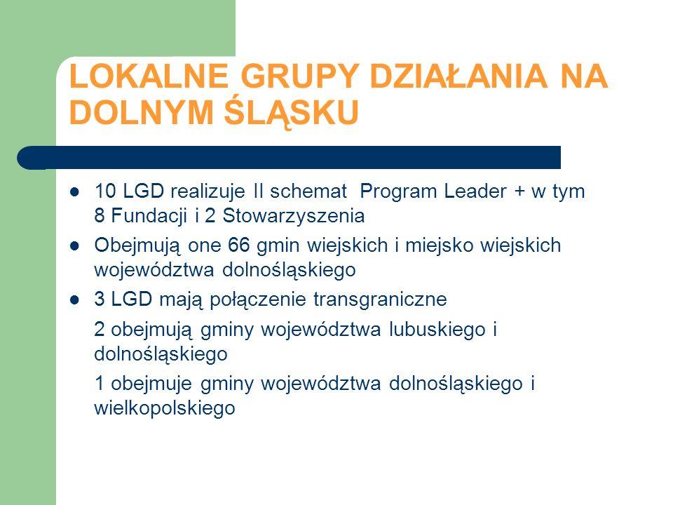 LOKALNE GRUPY DZIAŁANIA NA DOLNYM ŚLĄSKU 10 LGD realizuje II schemat Program Leader + w tym 8 Fundacji i 2 Stowarzyszenia Obejmują one 66 gmin wiejski