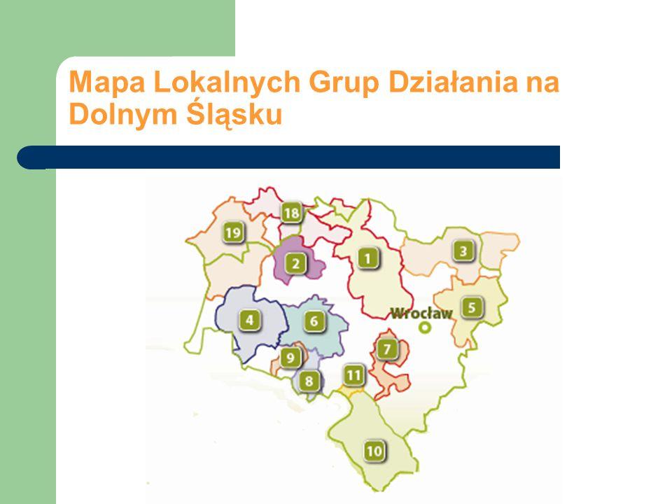 Mapa Lokalnych Grup Działania na Dolnym Śląsku
