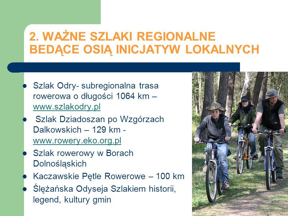 2. WAŻNE SZLAKI REGIONALNE BEDĄCE OSIĄ INICJATYW LOKALNYCH Szlak Odry- subregionalna trasa rowerowa o długości 1064 km – www.szlakodry.pl Szlak Dziado