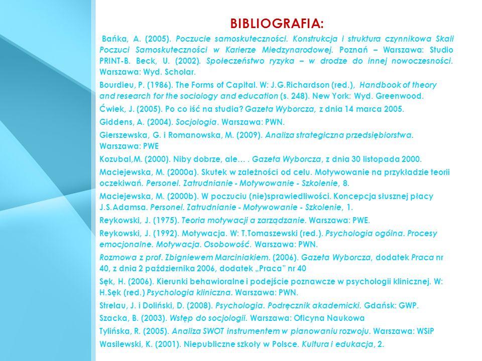 BIBLIOGRAFIA: Bańka, A. (2005). Poczucie samoskuteczności. Konstrukcja i struktura czynnikowa Skali Poczuci Samoskuteczności w Karierze Miedzynarodowe