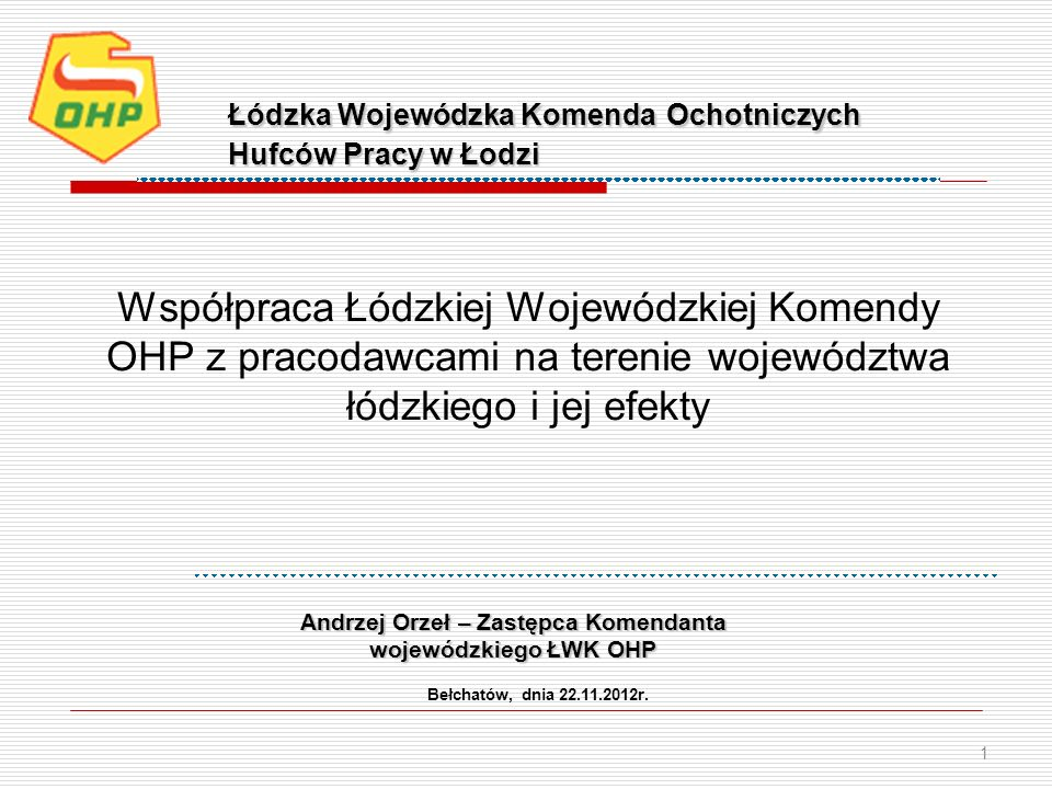 Współpraca Łódzkiej Wojewódzkiej Komendy OHP z pracodawcami na terenie województwa łódzkiego i jej efekty Bełchatów, dnia 22.11.2012r. 1 Łódzka Wojewó