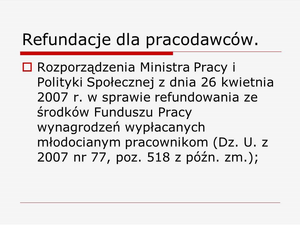 Refundacje dla pracodawców. Rozporządzenia Ministra Pracy i Polityki Społecznej z dnia 26 kwietnia 2007 r. w sprawie refundowania ze środków Funduszu