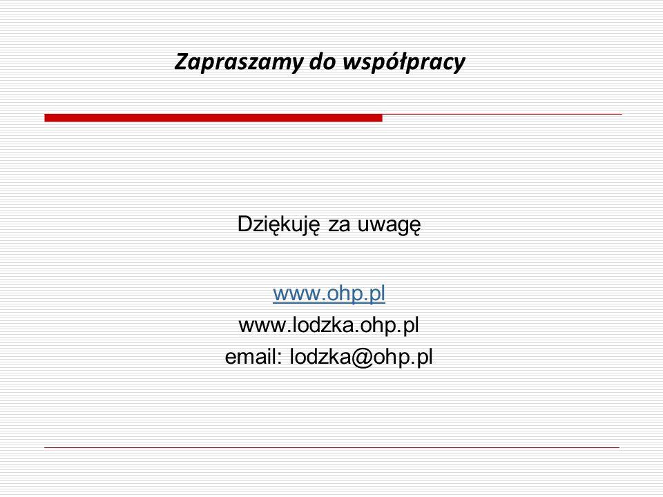 Dziękuję za uwagę www.ohp.pl www.lodzka.ohp.pl email: lodzka@ohp.pl Zapraszamy do współpracy