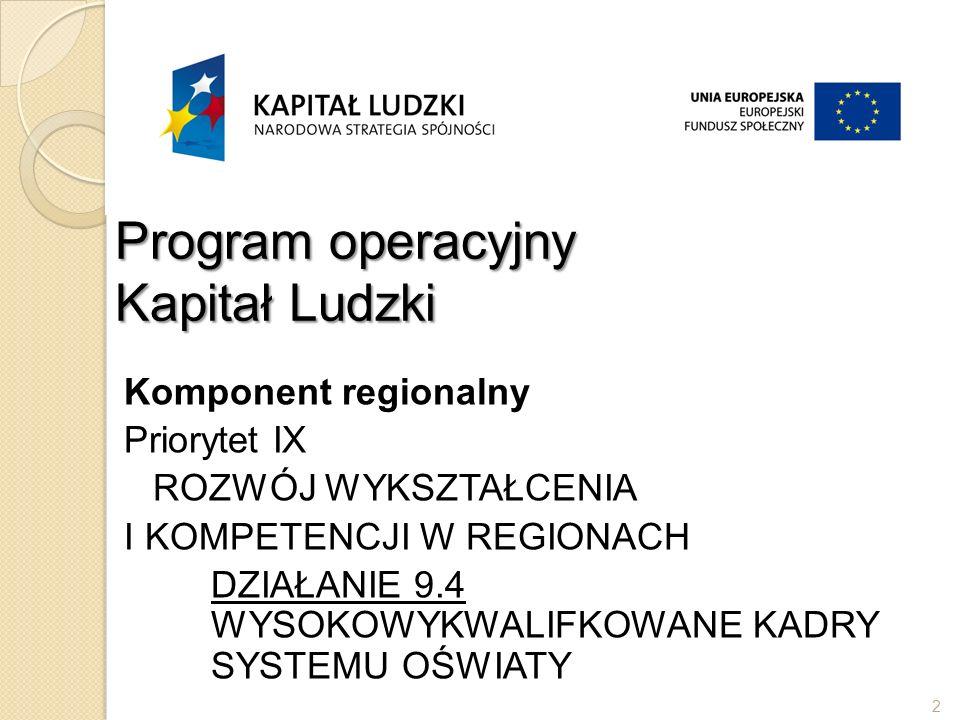 Program operacyjny Kapitał Ludzki Komponent regionalny Priorytet IX ROZWÓJ WYKSZTAŁCENIA I KOMPETENCJI W REGIONACH DZIAŁANIE 9.4 WYSOKOWYKWALIFKOWANE