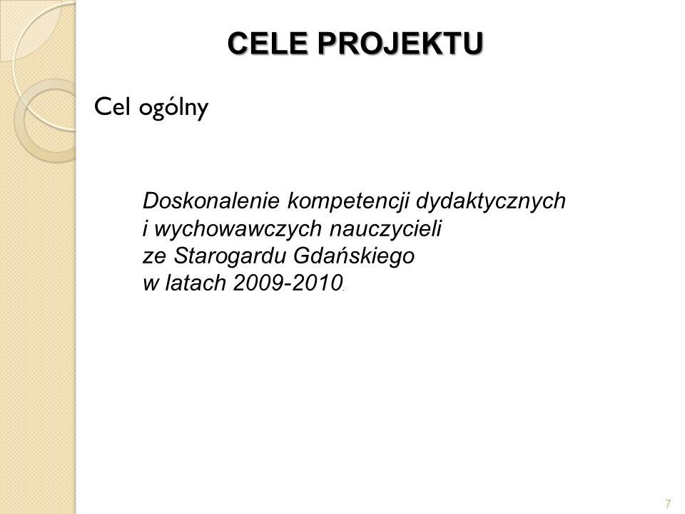 CELE PROJEKTU Cele szczegółowe integracja środowiska oświatowego Starogardu Gdańskiego - udział w kursach nauczycieli z różnych szkół, wyrównanie szans edukacyjnych uczniów, w tym o specjalnych potrzebach edukacyjnych, podniesienie wyników egzaminów zewnętrznych (sprawdzianu i egzaminu gimnazjalnego) w stosunku do wyników roku 2008, aktywizacja zawodowa nauczycieli szkół starogardzkich poprzez uczestnictwo w 2 wybranych kursach.