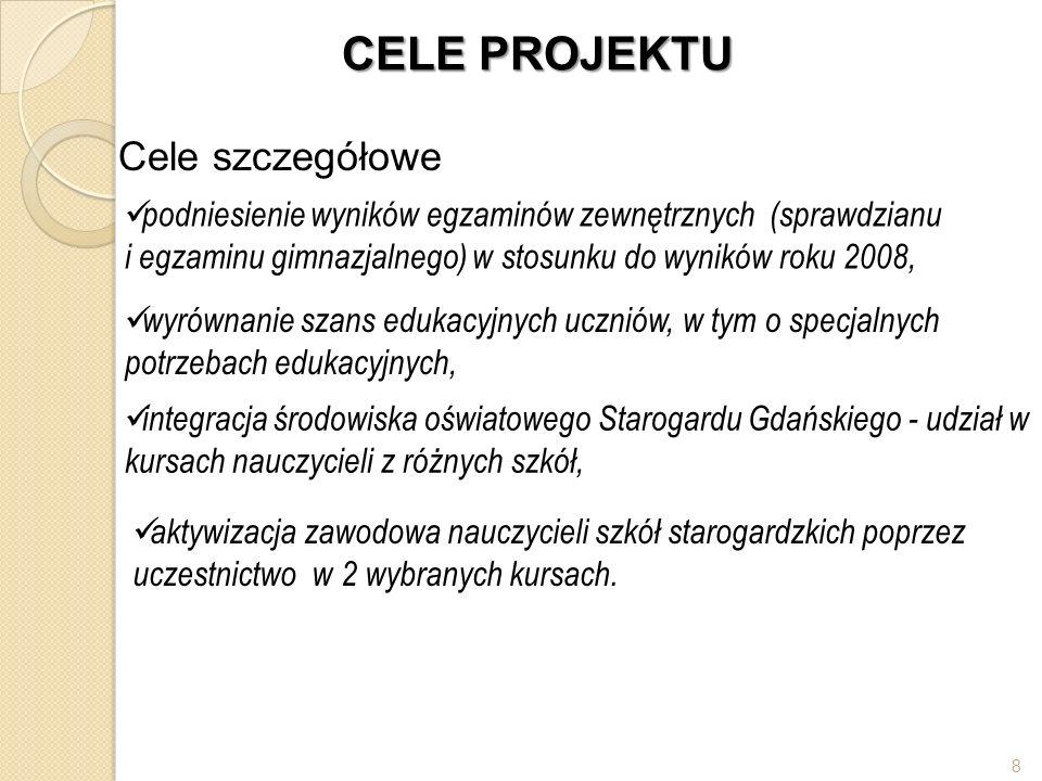 CELE PROJEKTU Cele szczegółowe integracja środowiska oświatowego Starogardu Gdańskiego - udział w kursach nauczycieli z różnych szkół, wyrównanie szan