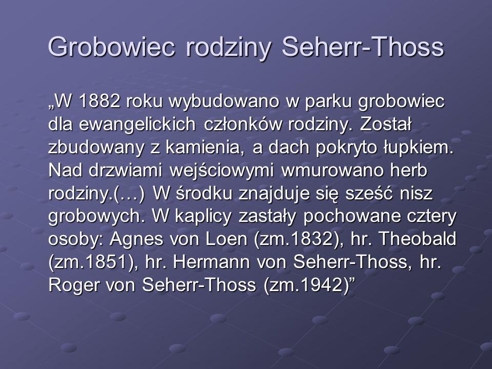 Grobowiec rodziny Seherr-Thoss W 1882 roku wybudowano w parku grobowiec dla ewangelickich członków rodziny. Został zbudowany z kamienia, a dach pokryt