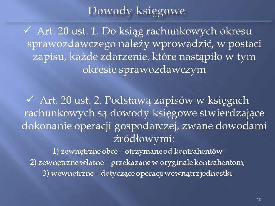 Art. 20 ust. 1. Do ksiąg rachunkowych okresu sprawozdawczego należy wprowadzić, w postaci zapisu, każde zdarzenie, które nastąpiło w tym okresie spraw