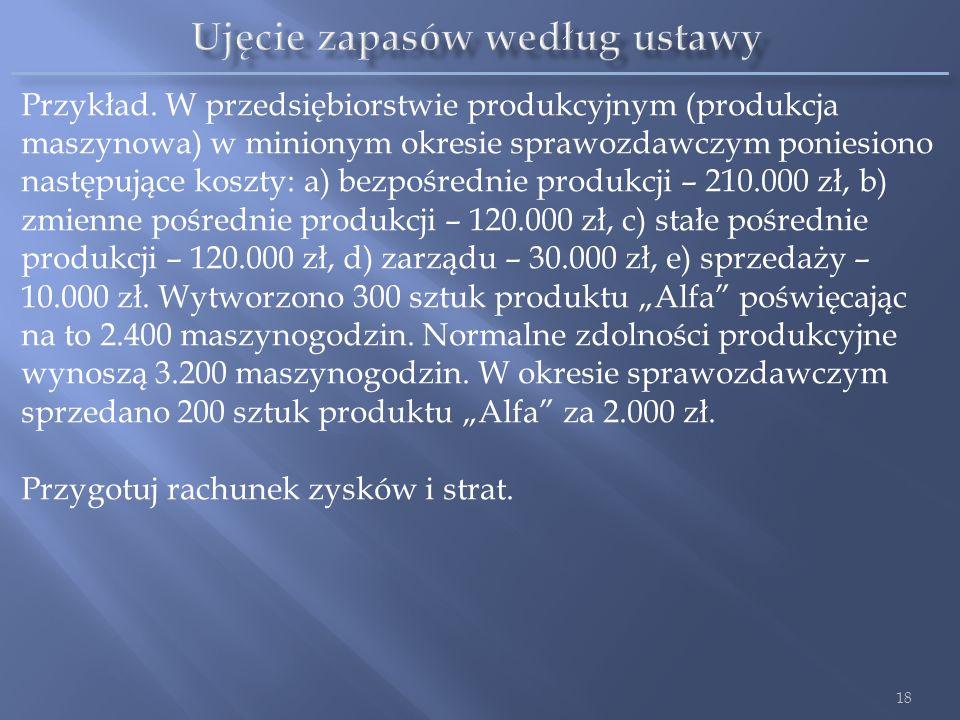 Przykład. W przedsiębiorstwie produkcyjnym (produkcja maszynowa) w minionym okresie sprawozdawczym poniesiono następujące koszty: a) bezpośrednie prod