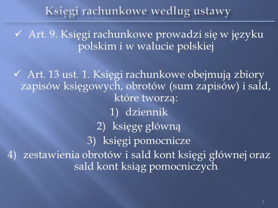 Art. 9. Księgi rachunkowe prowadzi się w języku polskim i w walucie polskiej Art. 13 ust. 1. Księgi rachunkowe obejmują zbiory zapisów księgowych, obr
