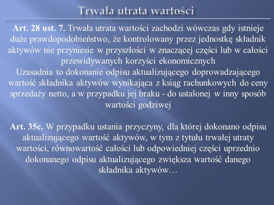 Art. 28 ust. 7. Trwała utrata wartości zachodzi wówczas gdy istnieje duże prawdopodobieństwo, że kontrolowany przez jednostkę składnik aktywów nie prz