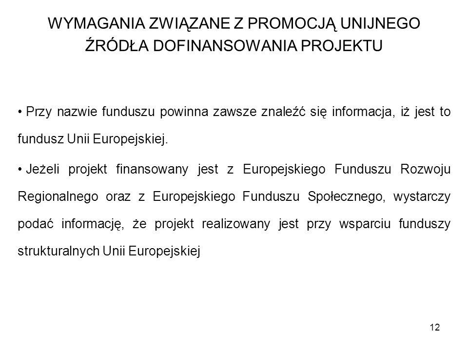 12 Przy nazwie funduszu powinna zawsze znaleźć się informacja, iż jest to fundusz Unii Europejskiej. Jeżeli projekt finansowany jest z Europejskiego F