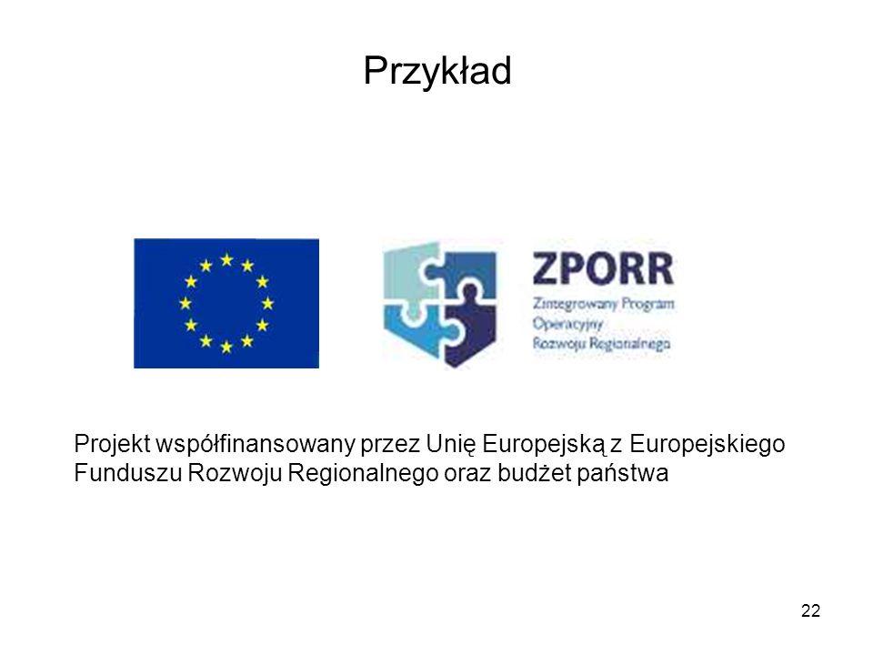 22 Przykład Projekt współfinansowany przez Unię Europejską z Europejskiego Funduszu Rozwoju Regionalnego oraz budżet państwa