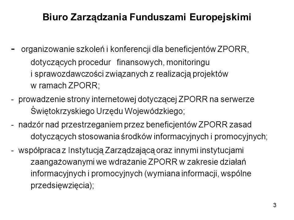 3 Biuro Zarządzania Funduszami Europejskimi - organizowanie szkoleń i konferencji dla beneficjentów ZPORR, dotyczących procedur finansowych, monitorin