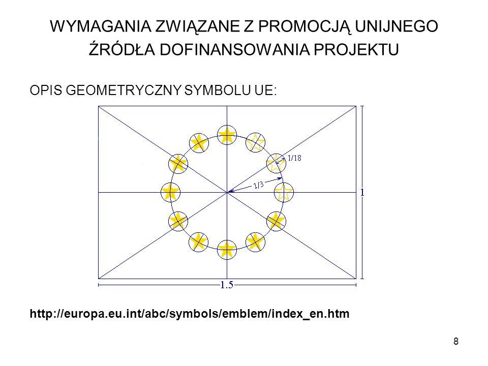 9 Regulacja kolorów: Logo ma następujące kolory: Niebieski Pantone reflex - powierzchnia prostokąta Żółty Pantone- powierzchnia gwiazd WYMAGANIA ZWIĄZANE Z PROMOCJĄ UNIJNEGO ŹRÓDŁA DOFINANSOWANIA PROJEKTU