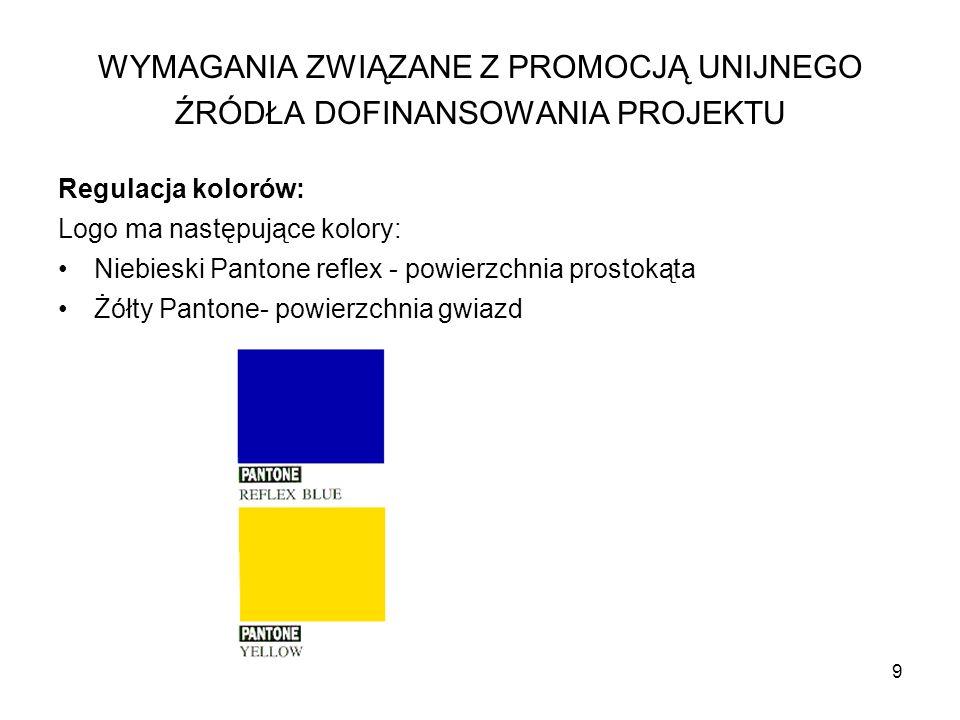 9 Regulacja kolorów: Logo ma następujące kolory: Niebieski Pantone reflex - powierzchnia prostokąta Żółty Pantone- powierzchnia gwiazd WYMAGANIA ZWIĄZ
