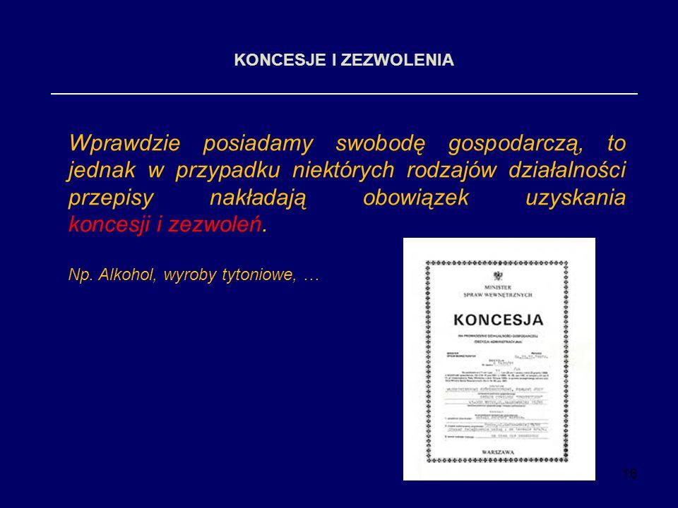 16 KONCESJE I ZEZWOLENIA Wprawdzie posiadamy swobodę gospodarczą, to jednak w przypadku niektórych rodzajów działalności przepisy nakładają obowiązek