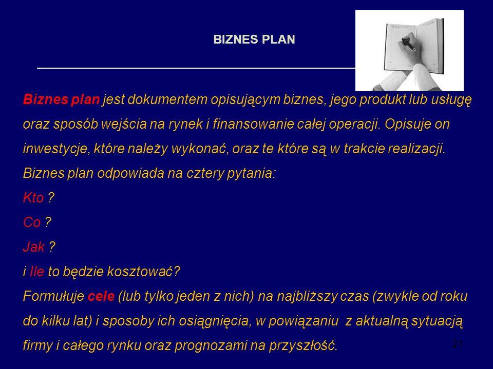 21 BIZNES PLAN Biznes plan jest dokumentem opisującym biznes, jego produkt lub usługę oraz sposób wejścia na rynek i finansowanie całej operacji. Opis