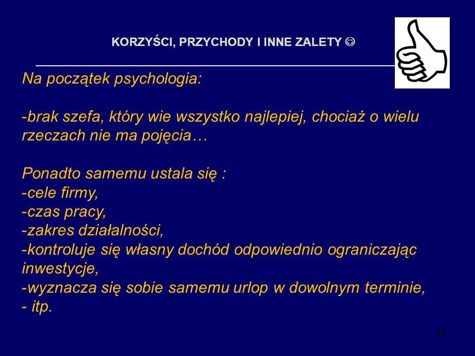 22 KORZYŚCI, PRZYCHODY I INNE ZALETY Na początek psychologia: -brak szefa, który wie wszystko najlepiej, chociaż o wielu rzeczach nie ma pojęcia… Pona