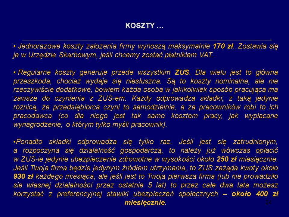 24 KOSZTY … Jednorazowe koszty założenia firmy wynoszą maksymalnie 170 zł. Zostawia się je w Urzędzie Skarbowym, jeśli chcemy zostać płatnikiem VAT. R