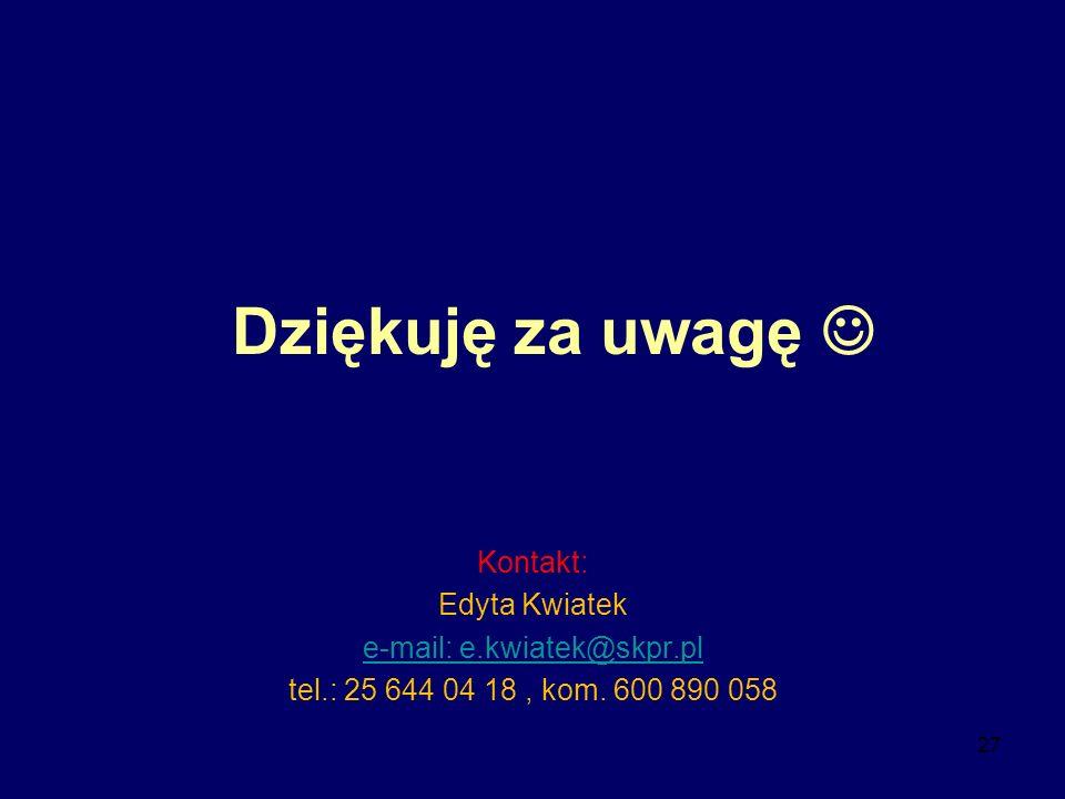 27 Dziękuję za uwagę Kontakt: Edyta Kwiatek e-mail: e.kwiatek@skpr.pl tel.: 25 644 04 18, kom. 600 890 058