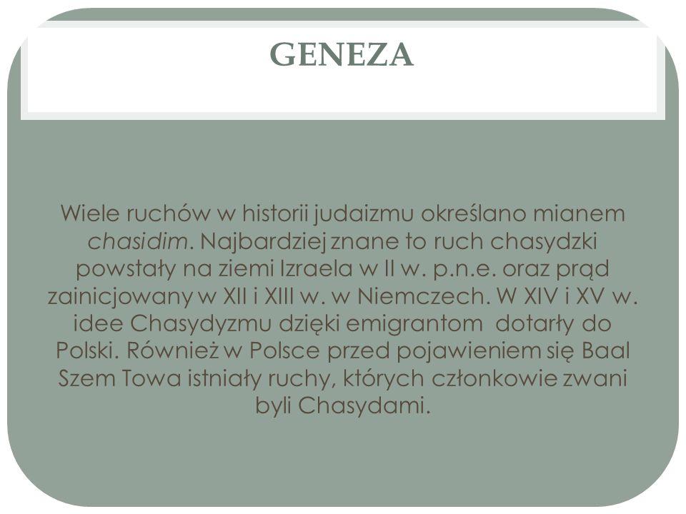 GENEZA Wiele ruchów w historii judaizmu określano mianem chasidim. Najbardziej znane to ruch chasydzki powstały na ziemi Izraela w II w. p.n.e. oraz p