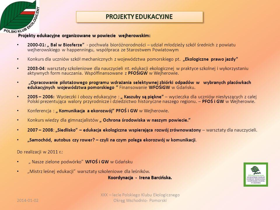 Projekty edukacyjne organizowane w powiecie wejherowskim: Projekty edukacyjne organizowane w powiecie wejherowskim: 2000-01: Bal w Biosferze - pochwał