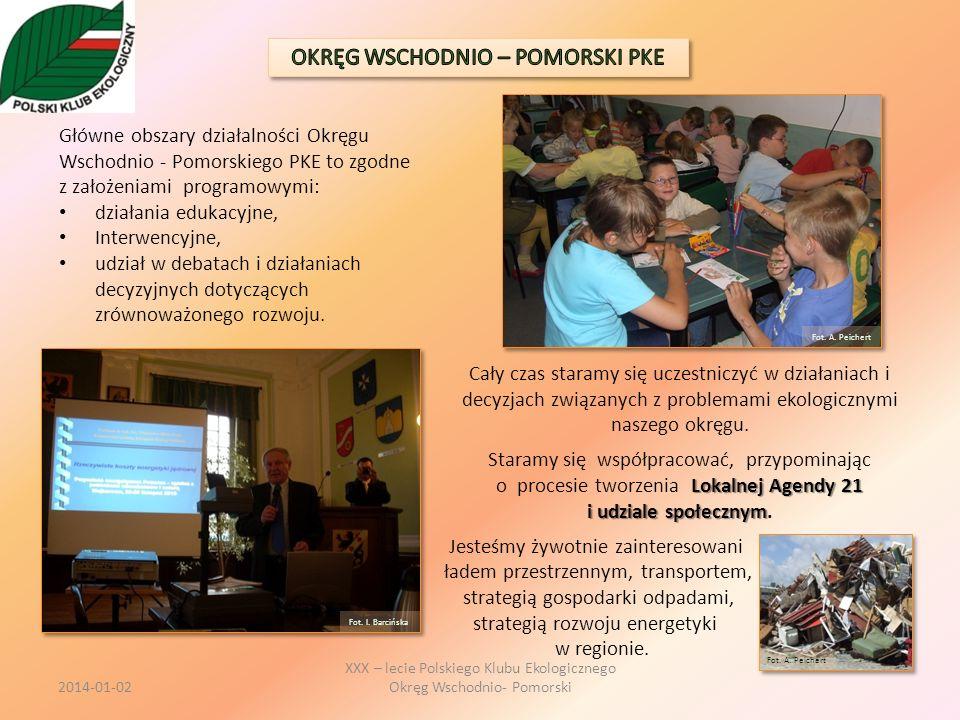 Główne obszary działalności Okręgu Wschodnio - Pomorskiego PKE to zgodne z założeniami programowymi: działania edukacyjne, Interwencyjne, udział w deb