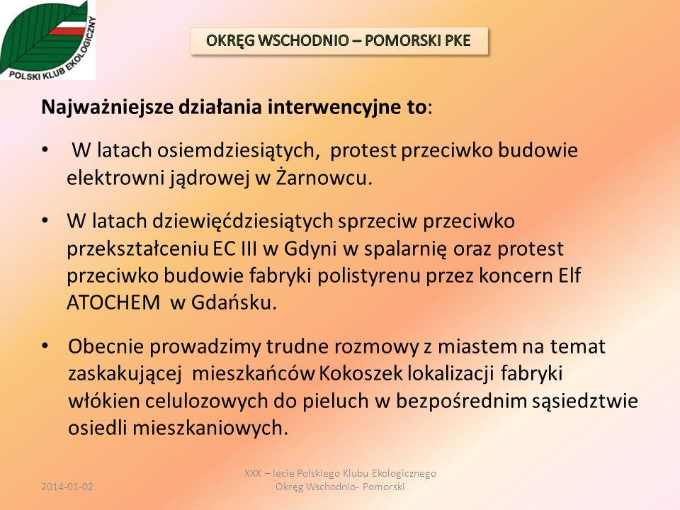 Najważniejsze działania interwencyjne to: W latach osiemdziesiątych, protest przeciwko budowie elektrowni jądrowej w Żarnowcu. W latach dziewięćdziesi