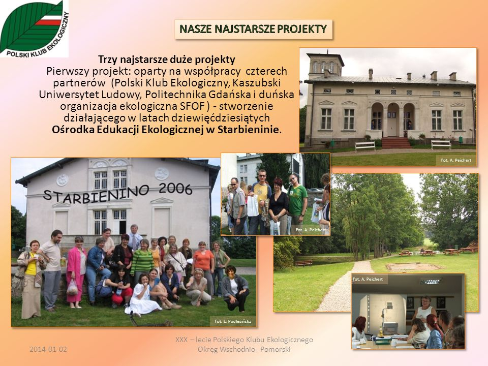 Trzy najstarsze duże projekty Pierwszy projekt: oparty na współpracy czterech partnerów (Polski Klub Ekologiczny, Kaszubski Uniwersytet Ludowy, Polite