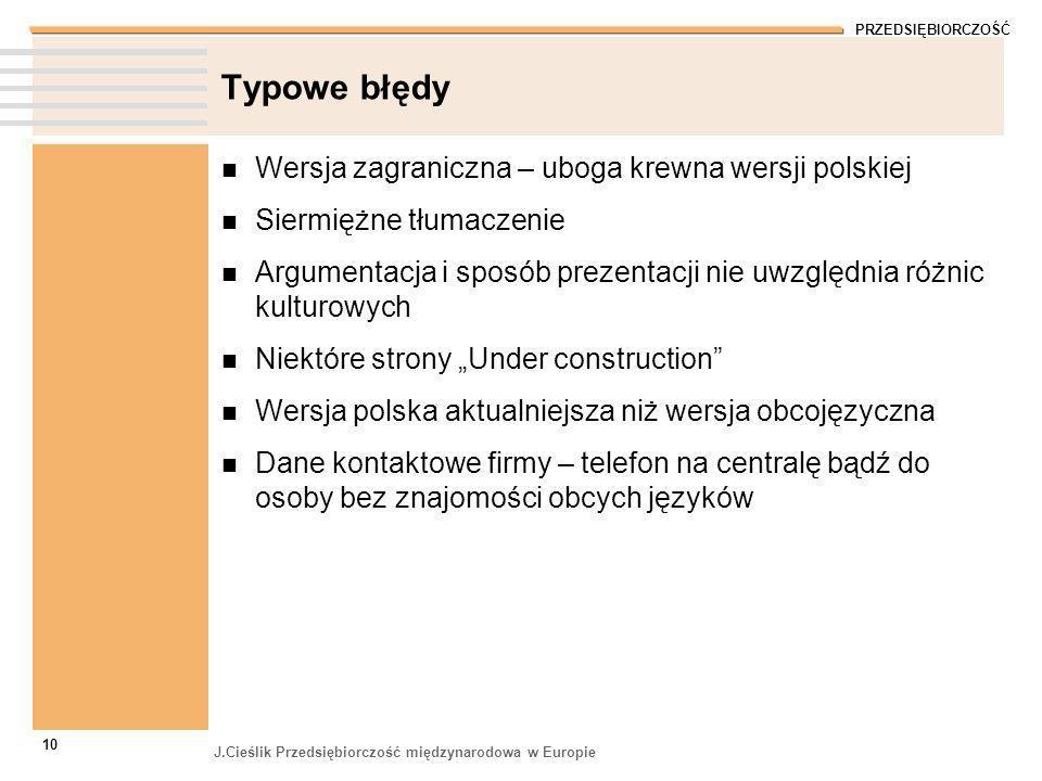PRZEDSIĘBIORCZOŚĆ J.Cieślik Przedsiębiorczość międzynarodowa w Europie 10 Typowe błędy Wersja zagraniczna – uboga krewna wersji polskiej Siermiężne tł