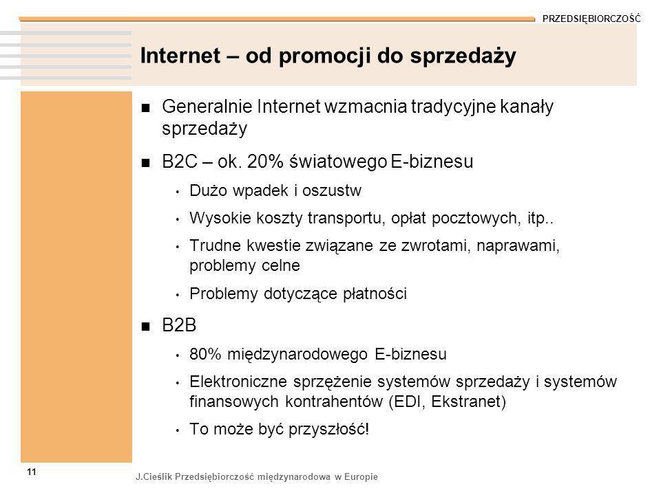 PRZEDSIĘBIORCZOŚĆ J.Cieślik Przedsiębiorczość międzynarodowa w Europie 11 Internet – od promocji do sprzedaży Generalnie Internet wzmacnia tradycyjne