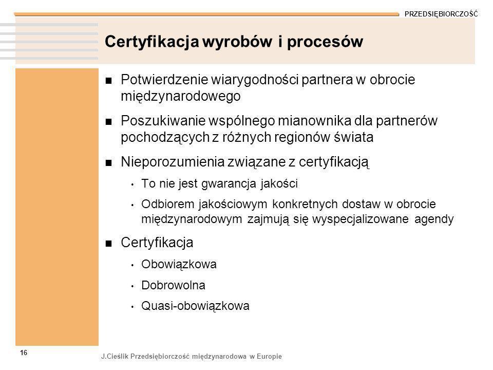PRZEDSIĘBIORCZOŚĆ J.Cieślik Przedsiębiorczość międzynarodowa w Europie 16 Certyfikacja wyrobów i procesów Potwierdzenie wiarygodności partnera w obroc