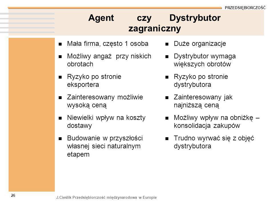 PRZEDSIĘBIORCZOŚĆ J.Cieślik Przedsiębiorczość międzynarodowa w Europie 26 Agent czy Dystrybutor zagraniczny Mała firma, często 1 osoba Możliwy angaż p