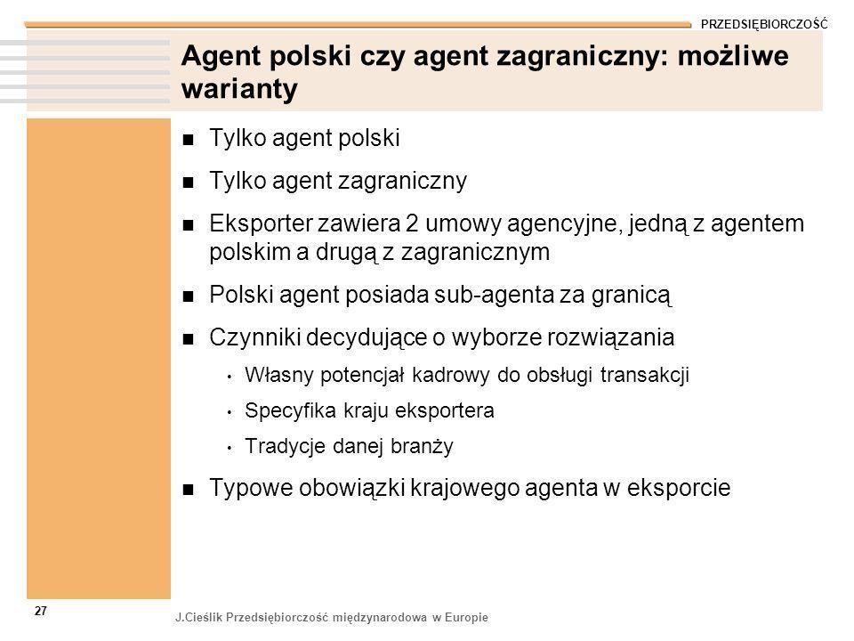 PRZEDSIĘBIORCZOŚĆ J.Cieślik Przedsiębiorczość międzynarodowa w Europie 27 Agent polski czy agent zagraniczny: możliwe warianty Tylko agent polski Tylk