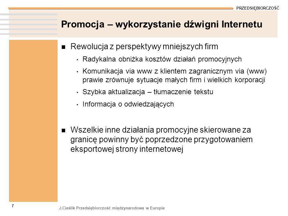 PRZEDSIĘBIORCZOŚĆ J.Cieślik Przedsiębiorczość międzynarodowa w Europie 8 Eksportowa wersja strony www Zwyczaj sprawdzania internetowego nowych kontaktów Czy nazwa firmy, domena internetowa dobrze brzmi w obcych językach.