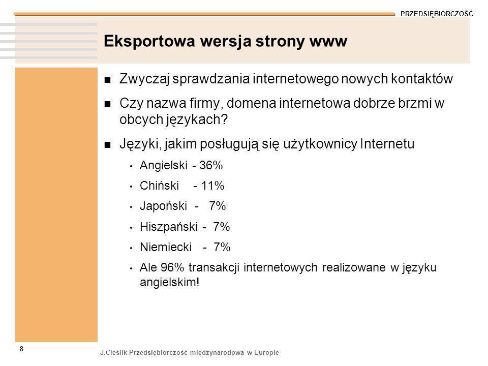 PRZEDSIĘBIORCZOŚĆ J.Cieślik Przedsiębiorczość międzynarodowa w Europie 8 Eksportowa wersja strony www Zwyczaj sprawdzania internetowego nowych kontakt