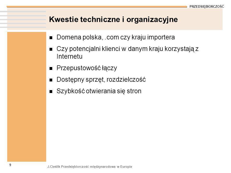 PRZEDSIĘBIORCZOŚĆ J.Cieślik Przedsiębiorczość międzynarodowa w Europie 9 Kwestie techniczne i organizacyjne Domena polska,.com czy kraju importera Czy