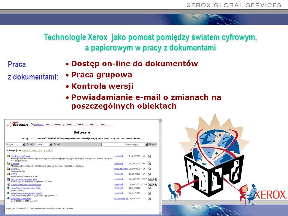 Praca z dokumentami: Dostęp on-line do dokumentów Praca grupowa Kontrola wersji Powiadamianie e-mail o zmianach na poszczególnych obiektach Technologi