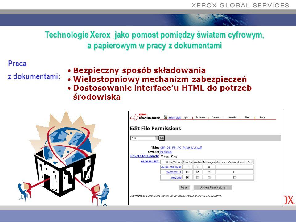 Praca z dokumentami: Bezpieczny sposób składowania Wielostopniowy mechanizm zabezpieczeń Dostosowanie interfaceu HTML do potrzeb środowiska Technologi