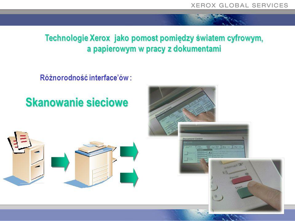 Różnorodność interfaceów : Skanowanie sieciowe Technologie Xerox jako pomost pomiędzy światem cyfrowym, a papierowym w pracy z dokumentami